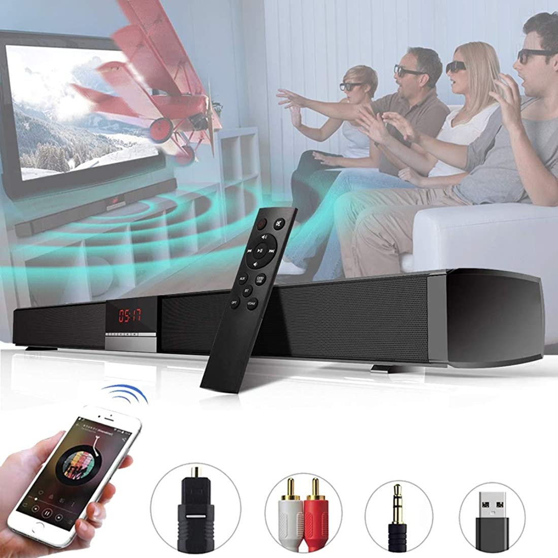 盲目不良ローンサウンドバー TVスピーカー ホームシアターシステム 高音質内蔵サブウーファー 【Bluetooth/OPT/RCA/AUX /USB 】5つの接続方法 ,壁掛け,リモートコントロール付