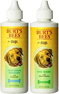 Burt's Bees for Dogs Eye Care Bundle: (1) Burt's Tear Stain Remover with Chamomile, and (1) Eye Wash with Saline Solution, 4 Oz. Ea.
