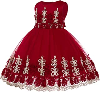 XFentech Princess Dress - Girls Infant Sleeveless Birthday Tutu Party Princess Romper Dress,Red,12M(7-12 Months)