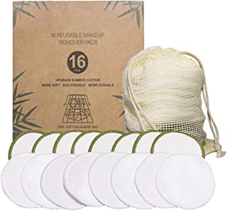 Beaupretty Charcoal Bamboo Reusable Makeup Remover Pads Biodegradable Cotton Eco Friendly Reusable Cotton Pads Organic Bamboo Cotton Face Rounds Makeup Pads with Laundry Bag 16pcs