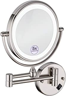 Anpean 8 Inches LED Lighted Hardwired Wall Mount Makeup Mirror with 5x Magnification, Brushed Nickel