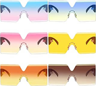 6 Pairs Oversized Square Sunglasses Rimless Frame Candy...