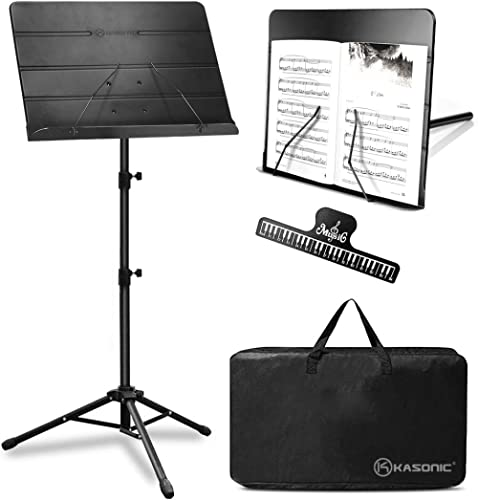 Kasonic 2 in 1 Dual-Use Folding Sheet Music Stand & Desktop Book Stand with Portable Carrying Bag and Music Sheet Cli...
