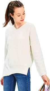 URLAZH Women's White Wool Knit V-Neck Side Slit High Low Asymmetrical Slanted Hem Pullover Sweater