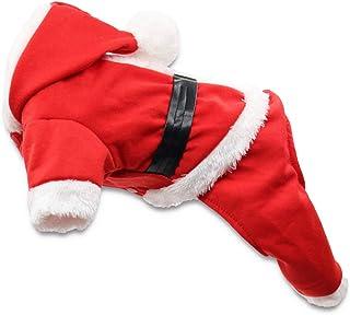 DroolingDog Pet Santa Costume Christmas Shirt Boy Dogs Pajams Puppy Xmas Clothes for Small Dogs, Medium, Red
