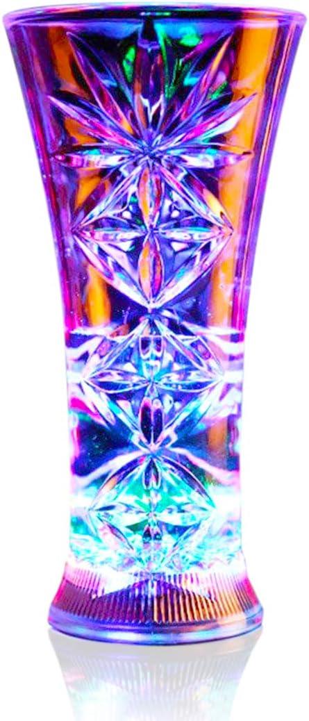 ASEOK Cambio de Color para Beber Vasos con LED 5 LED Luces de acrílico Plexiglás No zerbrechlich Agua Densidad Marble Textura PC de Material