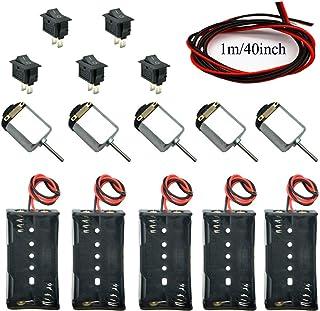 5 Pcs,Juego de Motor Eletrico Bricolaje DC Motor Mini 1.5V-6V 24000RPM,5X Espaciamiento para Pilas AA, 5 x Interruptores, Cables1m