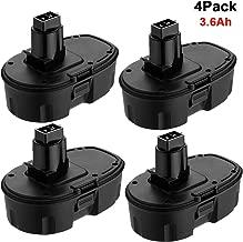 4 Packs 18V 3.6Ah Ni-MH Extended Capacity Replacement Battery for Dewalt 18 volt XRP DC9096 DC9096-2 DC9098 DC9099 DE9098 DE9503 DW9095 DW9096 DW9098