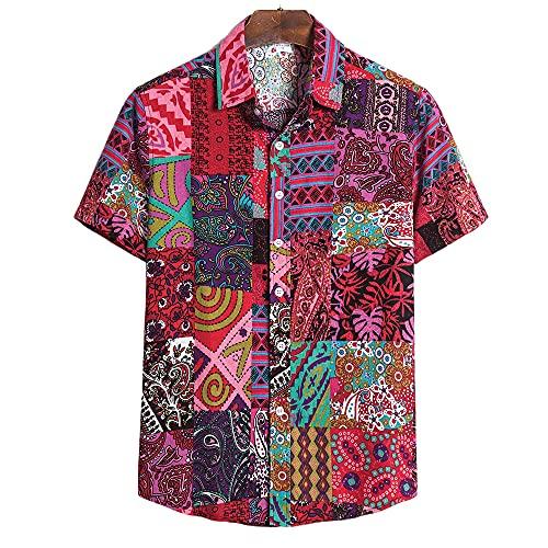 Casuales Camisas Hombre Verano Personalidad Abstracto Estampado Hombre Camiseta Moderno Botón Placket Holgada Manga Corta Casual Vacaciones Transpirable Hombre Shirt TC77-Red 4XL