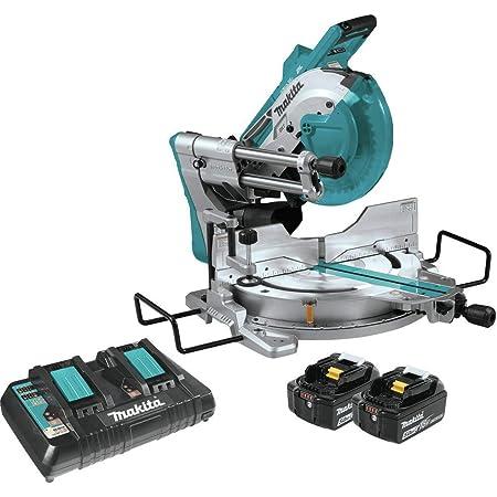 "Makita XSL04PTU 18V x2 LXT Lithium-Ion (36V) Brushless Cordless 10"" Dual-Bevel Sliding Compound Miter Saw Kit, Aws & Laser (5.0Ah)"