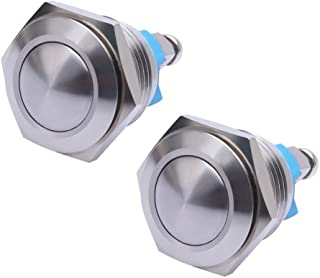 WerFamily 2 Pcs 16mm Waterproof Momentary Stainless Steel Metal Push Button Switch Round Top 250V 3A 1NO SPST