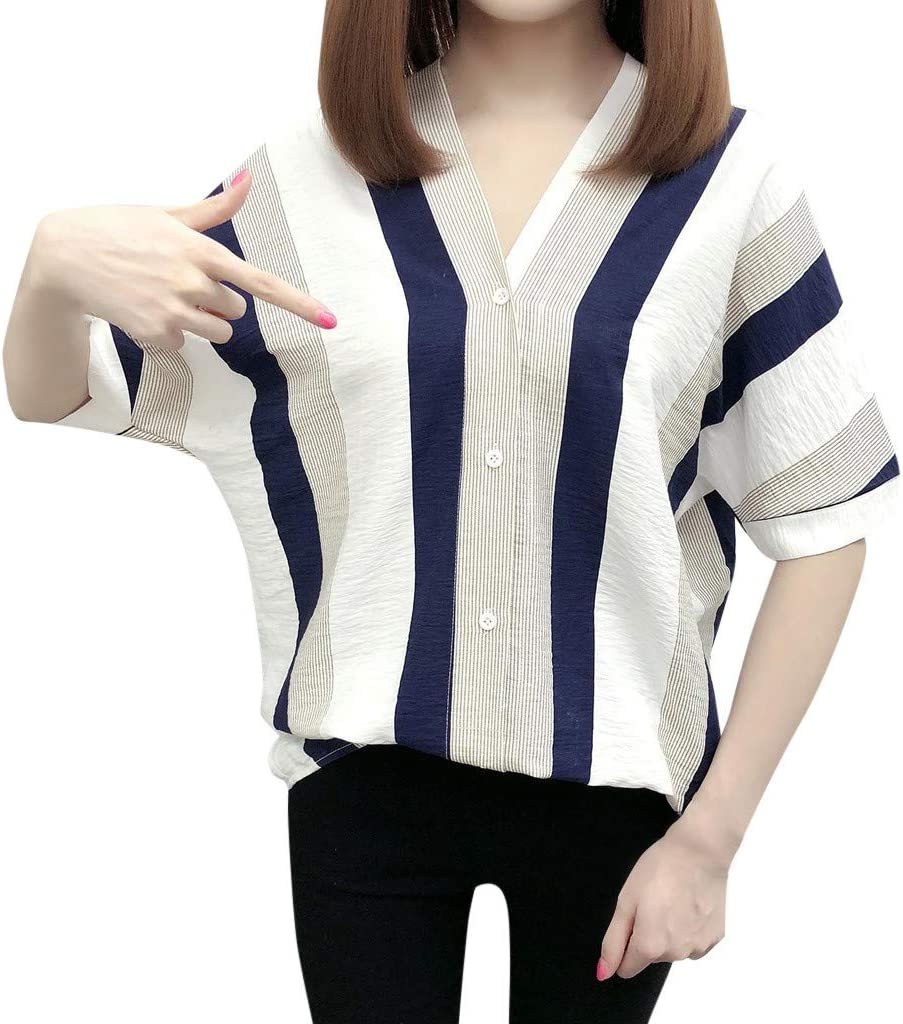 YOMXL Fashion Women Top Stripe V-Neck 5 ☆ popular Shirt Printed At the price of surprise Short Sleeve