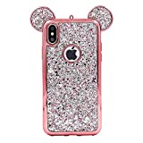 Tech Express 3D Mouse Ears Glitter Case for Apple iPhone XR Design Cover Chrome Bumper Bling Sparkle [TPU Gel Edge] Rhinestone Diamond Character Drop Protection XR (Rose Gold)