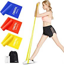 OMERIL Resistance Bands Set, 3 Pack Latex Exercise Bands with 3 Resistance Levels, Skin-Friendly Elastic Bands with Carryi...