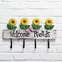 Wall Coat Rack Clothes Hat Hanger Holder Hooks Solid Wood 1/2/3/4/5 Pieces Daisy Style, 45x5x26CM cxjff (Color : Yellow, S...