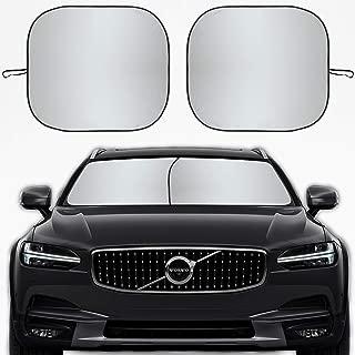 Kribin 2 件装汽车挡风玻璃遮阳罩 - 71.12 厘米 x 81.28 厘米可折叠遮阳罩,防紫外线和热反射器 - 让您的爱车保持凉爽