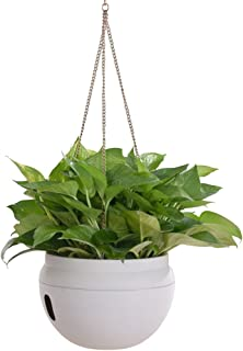 Layboo Self-Watering Hanging Plastic Planter for Outdoor Indoor Plant with Chains Hook Garden Hanging Baskets for Plants (White) …