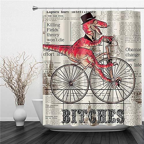 AIMILUX Duschvorhang 180x180cm,Hündinnen Dinosaurier Fahrrad Zeitung Thema,Duschvorhang Wasserabweisend-Duschvorhangringen 12 Shower Curtain mit