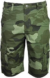 Kam Mens Camo Cargo Shorts Camouflage Dark Green KBS330