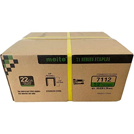 1 Box meite 22 Gauge 3//8-inch Crown 304 Stainless Steel Staples with 1//4-inch Leg similar to Senco C and 71 series 10,020 per Box
