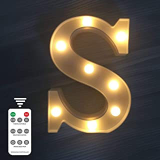 LED Marquee Letter Lights 9 Modes Alphabet Light Up Signs Remote Control Timer Dimmable for Christmas Wedding Birthday Party Home Bar BBQ Decoration (Letters S,Warm White)