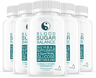 (5 Pack) Blood Sugar Balance Support Supplement, Blood Sugar Herbal Advanced Formula Pills Capsules - Supports Diabetic Hi...