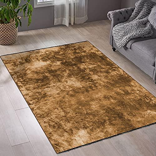 mimilos Alfombra de pelo corto para salón, decorativa, algodón y viscosa, alfombra para vivienda moderna, alfombra decorativa para dormitorio, comedor, habitación de los niños (Terra, 80 x 150 cm)