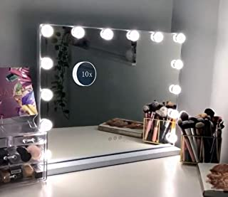 Hansong Vanity Makeup Mirror with Lights,Hollywood Lighted Mirror with 15 pcs Dimmable Led Bulbs for Dressing Room & Tabletop Mirror or Wall Mounted,Detachable 10X Magnification Spot Mirror