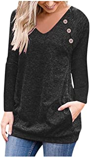 Aniywn Tops! Women Casual V-Neck Button Long Sleeve Pocket Pullover Hooded Solid Tee Blouse