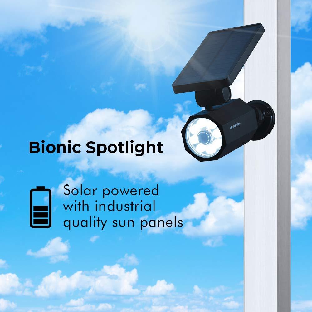 BIONIC SPOTLIGHT SOLAR SPOT 25 Feet Motion Sensor Sun Panels Waterproof