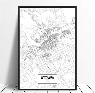 wzgsffs Ottawa, Ontario, Canadá Mapa del Mundo Blanco y Negro Mapa de la Ciudad Impresión de la Lona Estilo nórdico Arte de la Pared Sala de Estar Decoración del hogar -60x90cm Sin Marco