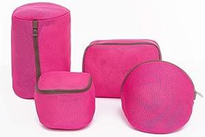 Lzww Thick mesh laundry basket  4Pcs reusable clothing laundry bag washing machine durable Red