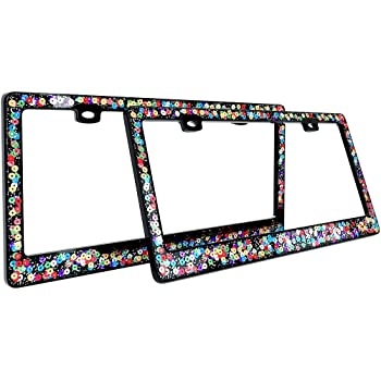 Front and Rear tag Frame 12 x 6 inch for Women New Cool card Art License Plate Frame