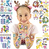Mocossmy Unicorn+Mermaid Temporary Tattoos for Kids - Glitter Happy Styles Unicorn Tattoo Stickers,Gradient Color Mermaid Fake Tattoo Stickers,Party Favor Supplies Party Decoration for Girls Boys