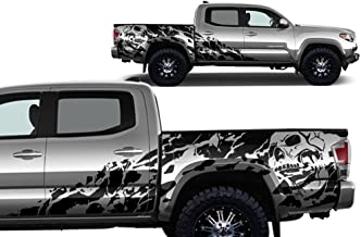 Factory Crafts Nightmare Side Graphics Kit 3M Vinyl Decal Wrap Compatible with Toyota Tacoma 4 Door Short Bed 2016-2017 - Matte Black