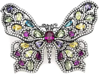Sterling Silver Brooch Lineargent Ruthenium 925M Butterfly Multicolor Adamantine Quartz Plated Zircons
