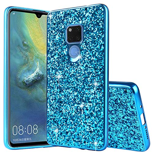 Huawei Mate 20 Hülle Glitzer Bling Schutzhülle Huawei Mate 20 Hülle Mädchen Soft Flex Slim TPU Silikon Hülle Bumper Style Tasche Luxus Handyhülle Kompatibel mit Huawei Mate 20 Hülle,Blau