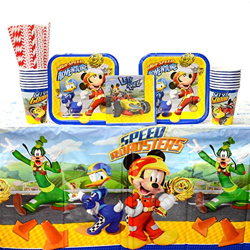 Disney Mickey Roadster Party Supplies Pack for 16 Guests: Straws, Dessert Plates, Beverage Napkins, Table Cover, and Cups