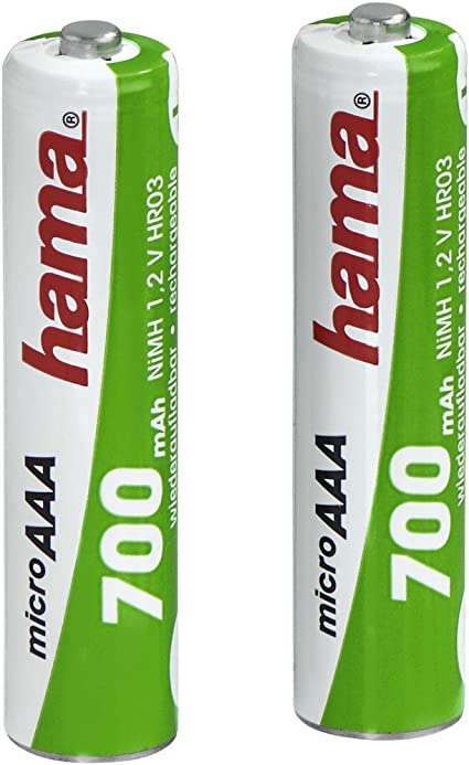 Hama Nimh Rechargeable Batteries 2x Aaa 700 Mah 1 2v Computers Accessories