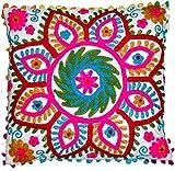 Traditionelle Jaipur Suzani Kissenbezug 16x 16, Indian Outdoor Kissen, dekorativer Überwurf-, Boho Kissenbezüge Kissenbezug, Bestickt, POM POM kissenrollen