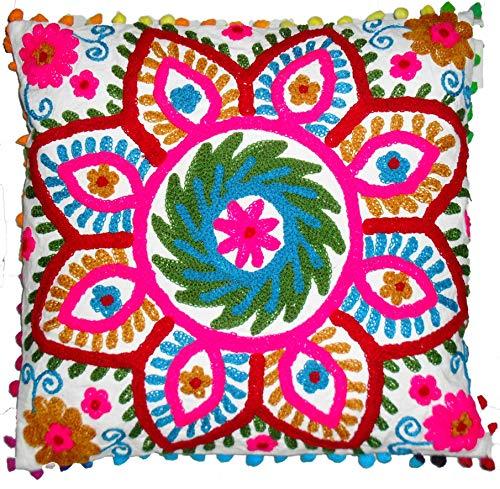 Traditional Jaipur Suzani - Funda de almohada de 40,6 x 40,6 cm, cojines indios al aire libre, manta decorativa, funda de cojín bordada, fundas de cojín con pompones
