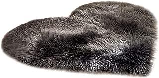 Evangelia.YM Artificial Wool Area Rugs Love Heart Carpet 12x16inch, Long Plush Soft Warm Non Slip Shaggy Mats for Bedroom Bedside Doorway Carpet (Black)