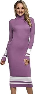 PrettyGuide Women Slim Fit Ribbed Turtleneck Long Sleeve Maxi Knit Sweater Dress