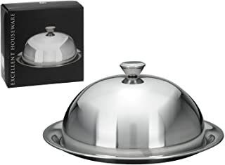 ultimatesalestore Stainless Steel Restaurant Cloche Serving Dish Food Cover Dome With Plate