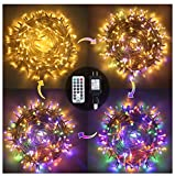 Ollny Outdoor String Lights 262FT 640 LED Christmas Fairy Twinkle Lights Warm White & Multi-Color Changing with Remote 11 Modes Plug in Waterproof Lights for Wall Wedding Party Halloween Decorations