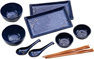 Happy Sales HSBH85/N, 10-Piece Dinnerware Set Blue Dragonfly
