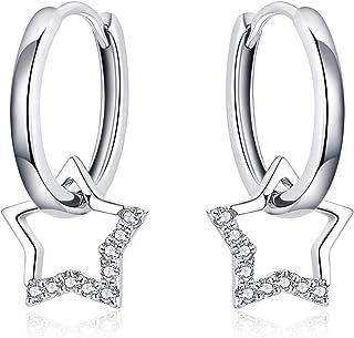 Pendientes de aro pequeños con diseño de estrella, plata con colgante para mujer, simple regalo para cumpleaños, día de la...