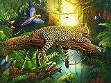 5D DIY diamante pintura leopardo estampado cuadrado diamante bordado Animal diamantes de imitación artista decoración del hogar A3 50x70cm