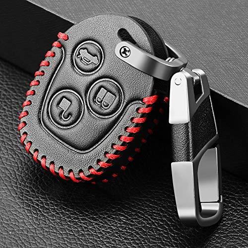 SDLWDQX Funda de Cuero para Llave de Coche, Apta para Ford Mondeo Focus Transit, 3 Botones, Carcasa de Llave remota, Funda para Llave de Coche, Llavero