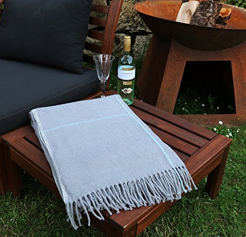heimtexland Premium Sommer Wohndecke Karo mit Fransen in Stone 200x150 cm kuschelig weich & leicht Picknickdecke Kuscheldecke Natural grau-braun Decke Typ533
